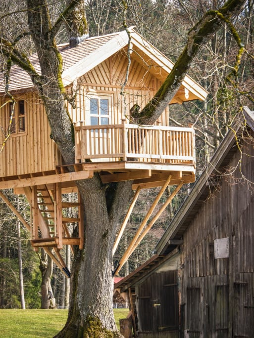 Beautiful well-structured treehouse with porch and windows