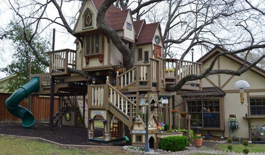 Coolest backyard treehouse and playhouse
