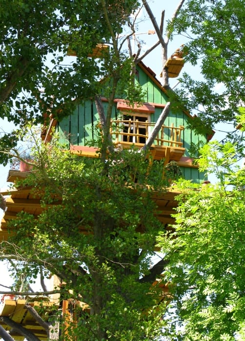 Light green treehouse for kids. Be invisible in the woods