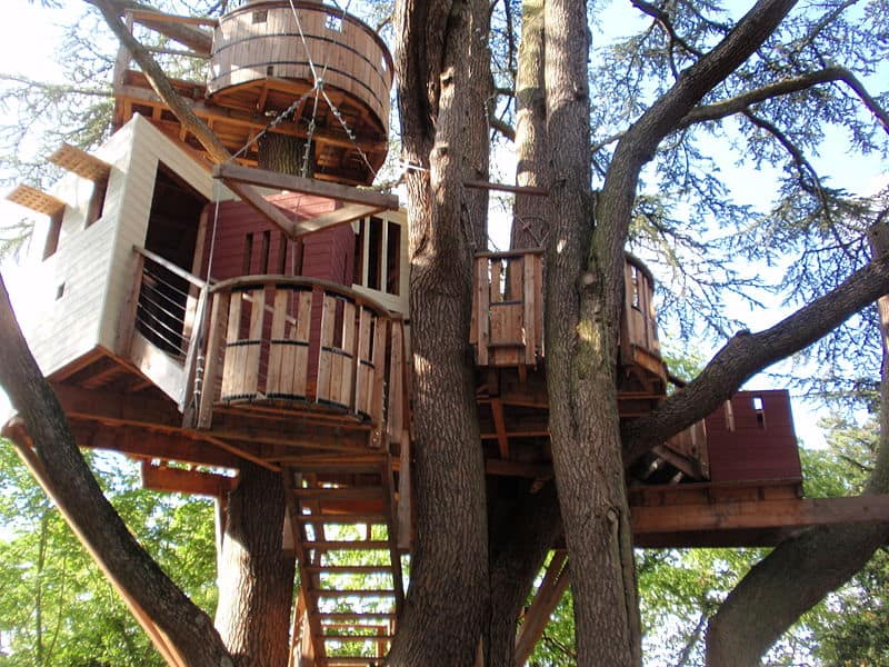 Your pirate ship treehouse with multiple levels and decks